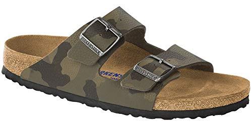 Birkenstock Women's Arizona Soft Footbed Sandal Camo Brown Birko-Flor Size 40 M EU