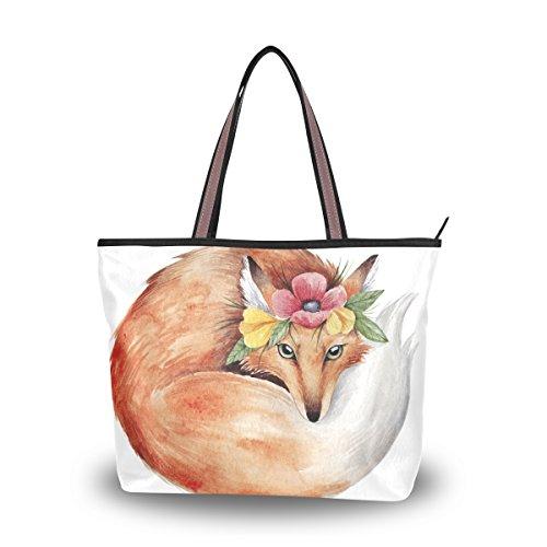 Grand tout De D'aquarelle Alaza Fourre Fleur D'épaule Fox Sac Main À FPwHqvw