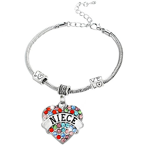 Rhinestone Love Heart Charm - Family Members Niece Multi-color Crystal Rhinestones Love Heart Charm Snake Chain Bracelets With Extender