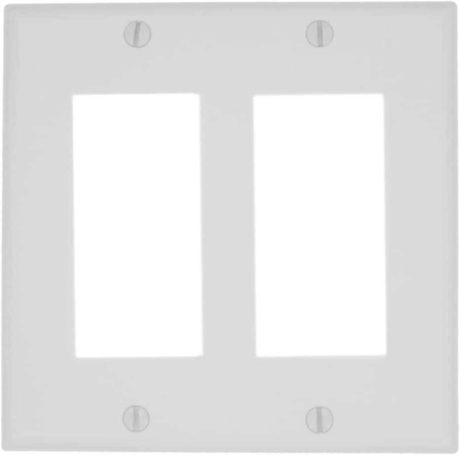 Leviton 80409-NW 2-Gang GFCI Device Decora Wallplate, Standard Size, White, 1 pack - Switch Plates -