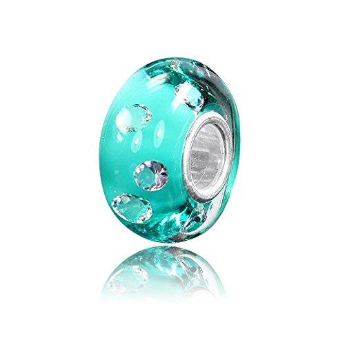 MATERIA Perle en verre de Murano–Argent 925Perle en verre turquoise avec 8zircons #970