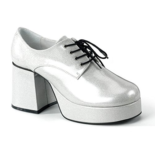 Funtasma 3 1/2 Heel Men Silver Glitter Platform Disco Shoes Mens Shoes, Pearlized SLV GLTR, Size - S for $<!--$59.95-->