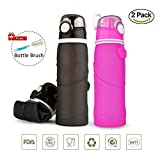 Collapsible Silicone Water Bottle for Outdoor BPA Free Foldable Silicone Travel Water Bottles 750ml (26oz) 2 pack