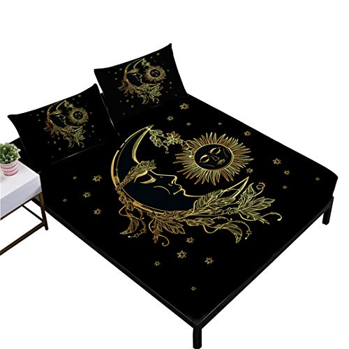 (Rhap King Size Sheets,Ethnic Mandala Style King Size Bedding Sheets Set of 4 Pieces,Home Decor Black Gold Moon Sun Printed King Size Fitted Sheet Set)