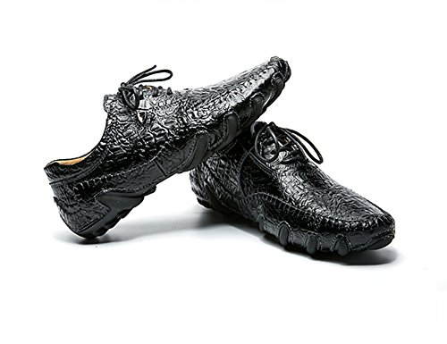 lace Casual Driving Octopus Flats Fashion Style up Leather No Shoes Loafers Town Black 66 Men's 1qpw4vOY