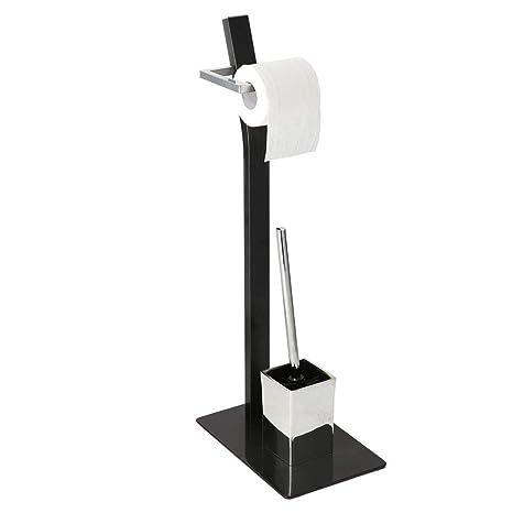 Allright Stand WC-Garnitur Toilettenpapierhalter B/ürste mit Ablage Edelstahl Rostfrei Platzsparend flexiblem Einsatz