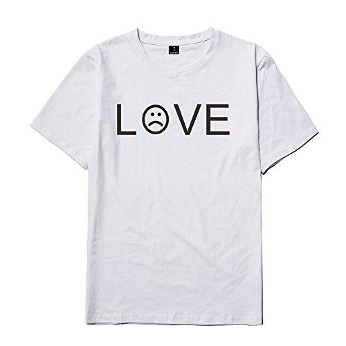 Décontractée White T Rond Imprimer D'été shirts Tops Populaires Love Homme Lil Besthoo Lettre Courtes Manches Peep shirt T Col qfUzw