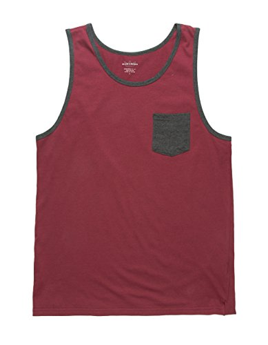 Blue Crown Burgundy Pocket Tank Top, Burgundy, Large (With Pocket Tops Mens Tank)