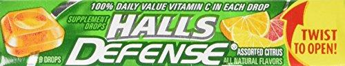 Halls Defense Vitamin C Assorted Citrus, 9 drop packs, (pack of (Defense Citrus Vitamins)