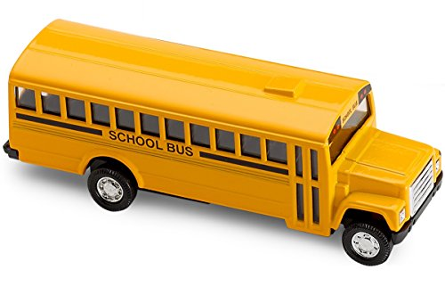 Diecast Friction School Bus - Pull Back 5 Inches Long Metal School Bus – Die-Cast Vehicles – Gift, Party Bag, Stuffers, Fillers - By Katzco