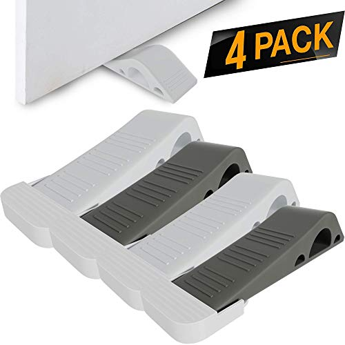 4 Pack Door Stopper [Reliable and Practical] Rubber Door Stop Security Wedge, Flexible, Non-Toxic, Longer Lasting Works with All Floor Surface Types [Easy Install Hinges with Bonus Holders]