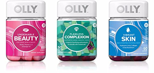Olly Undeniable Beauty,Flawless Complexion,And Vibrant Skin Trio! A Jar Of 60 Undeniable Beauty! A Jar Of 50 Flawless Complexion! A Jar Of 50 Vibrant Skin! Perfect Combo To Keep Yourself Looking Best! by Olly