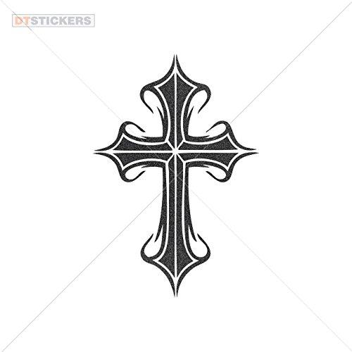 Tigers Helmet Ornament - Vinyl Stickers Decals Vinyl Christian Cross Symbol Vinyl Art Garage home window (3 X 2,04 In. ) Metallic Black