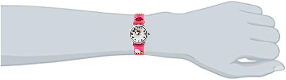 Jian Ya Na Filles Belle Cartoon Enfants Regardent, Bracelet en Silicone Montres-Bracelets à Quartz Ronde numérique Pink (3d Bee)