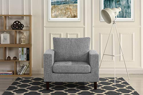 Modern Tufted Linen Fabric Armchair, Living Room Chair (Light Grey)