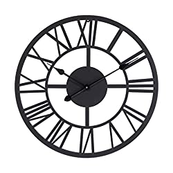 Mocome Black Roman Numeral Wall Clock 22 Large Analog Clock Soundless Battery Operated Metal Decorative Wall Clock for Kitchen