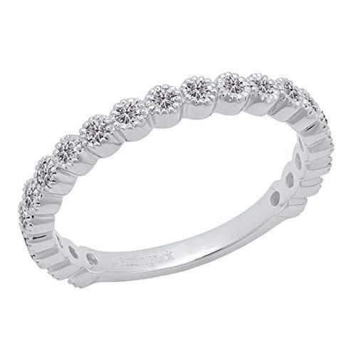 0.50 Carat (ctw) 10K White Gold Round Lab Grown White Diamond Wedding Eternity Band Ring (Size 6)
