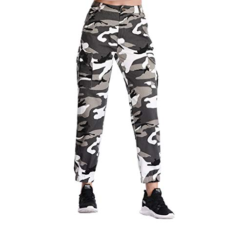Womens Jeans Cargo - ZODLLS Women's Camouflage Camo Pants Cargo Trousers Cool Pants High Waist Casual Multi Outdoor Jogger Pants(Gray, X-Large)