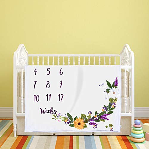 WLWQ Baby Monthly Milestone Blanket, Floral Plush Fleece Baby Photography Backdrop Memory Blanket for Newborns New Mom