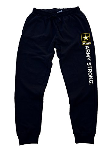 Army Strong Men's Jogger Training Black Pants Running Fitted (S, Black)