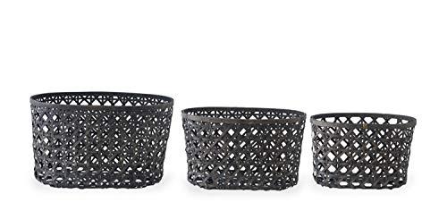 K&K Interiors Set of 3 Open Weave Bamboo Oval Nesting Baskets, Black