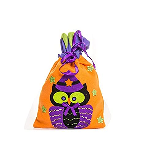 Tharv Drawstring Halloween Candy Bag Gift Bag Lovely Witche Owls Pumpkin Decoration Reusable Handbag Size: 152616cm - Folding Candy Pail
