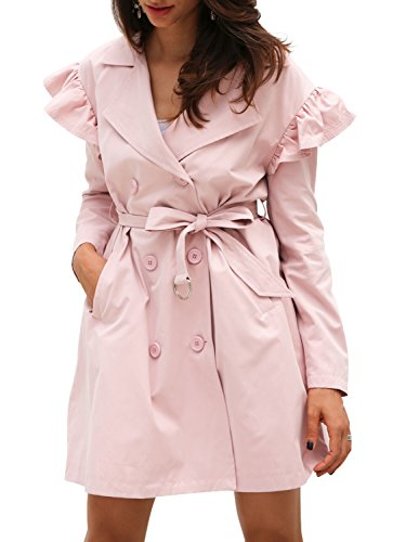 Simplee Women's Elegant Double Breasted Belted Long Trench Coat with Ruffle Pink ()