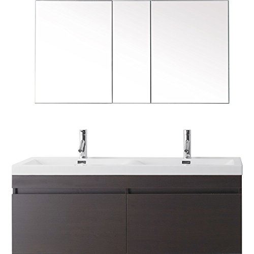 Virtu USA Zuri 55 inch Double Sink Bathroom Vanity Set in Wenge w/Integrated Square Sink, White Polymarble Countertop, Single Hole Brushed Nickel, No Mirror - JD-50355-WG-001 ()