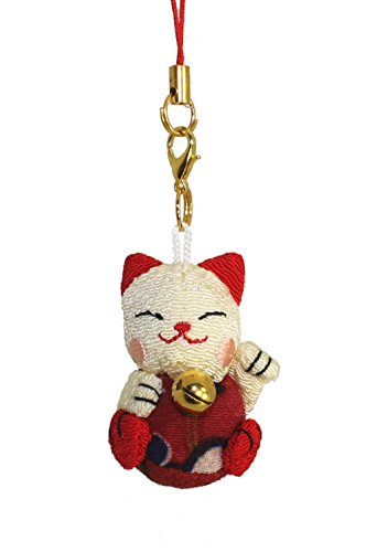 Lucky Cat Kitten iphone Cell Phone Charm (Beige/Red)