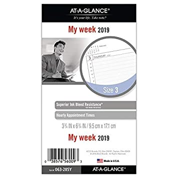 amazon at a glance 2019 weekly planner refill day runner 3 3 4