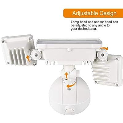 LEPOWER 3000LM LED Security Light, 30W Outdoor Flood Light, ETL- Certified, 3000K, IP65 Waterproof, 3 Adjustable Heads for Garage, Patio, Garden, Porch&Stair(Warm Light)