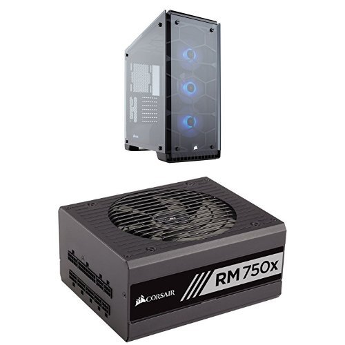 Corsair Crystal Series 570X RGB - Tempered Glass, Premium ATX Mid-Tower Case Cases and Corsair RMx Series, RM750x, 750W, Fully Modular Power Supply, 80 PLUS Gold Certified by Corsair