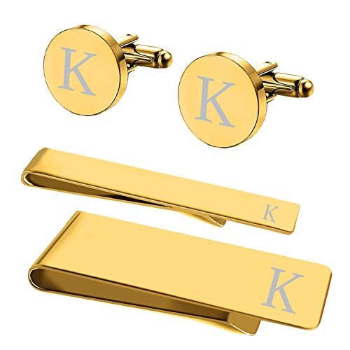 (BodyJ4You 4PC Cufflinks Tie Bar Money Clip Button Shirt Personalized Initials Letter K Gift Set)
