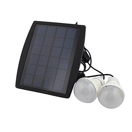 eDealMax panel solar al aire libre Desarrollado 2 Bombilla LED lámpara portátil campo de la tienda
