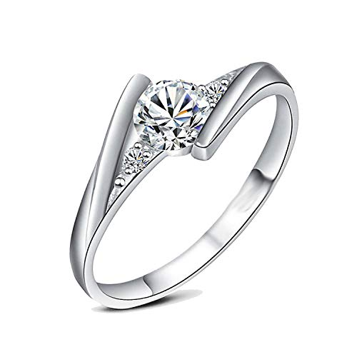 (Romantic Authentic 925 Sterling Silver Rings Set Luxury 0.5 Ct Aaa Zirconia Wedding Women Rings Selling Jewelry,8)