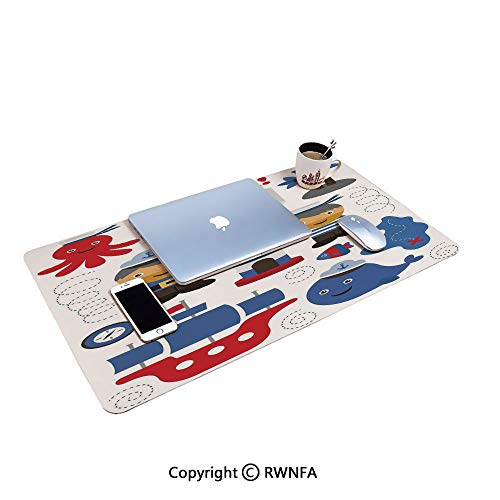 Sea Theme Objects Collection Fishes Ship Lighthouse Sailors Octopus Gaming Mouse pad,(15.7