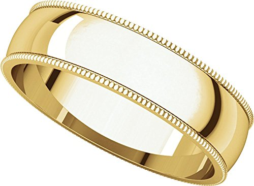 Plain Milgrain Wedding Band 14k Yellow Gold Ring Solid Polished Finish Regular Fit, 5 mm Size 9 by ZenJewels