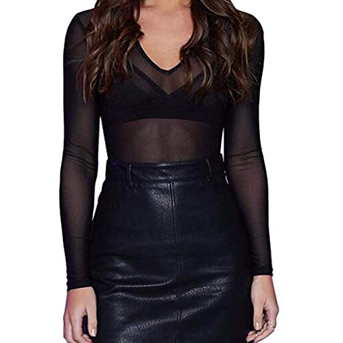 trasparente nere clubwear camicette lunga manica nero senza pure donna maniche Camicetta B0pwaq1I1