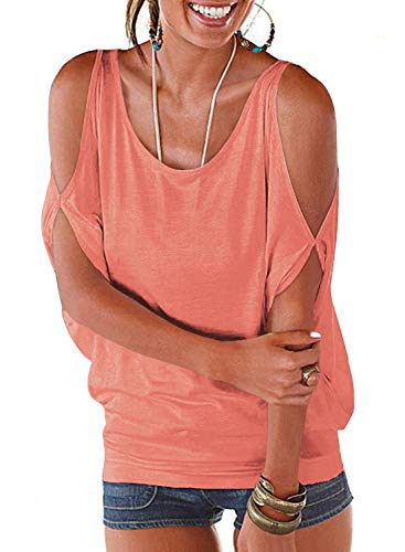 LEIYEE Womens Cold Shoulder Tops Short Sleeve T Shirt Pullover Casual Dolman Blouses (S, Coral Pink) ()