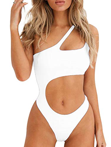 BEAGIMEG Women's Sexy One Shoulder Bathing Suit Cut Out One Piece Swimsuit White