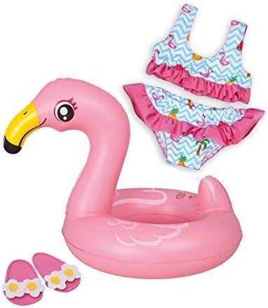 Heless 99zwemset voor poppen 3delig flamingo ella bikini flipflops en zwemring maat 3545 cm voor badplezier op warme zomerdagen