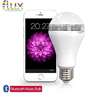 Fluxx2122; Blast - LED Light Bulb With Bluetooth Speaker - Warm White (3000K) - 40 Watt Equivalent (6W) A19 Bulb - Works with Apple iPhone, iPad and Android Phone