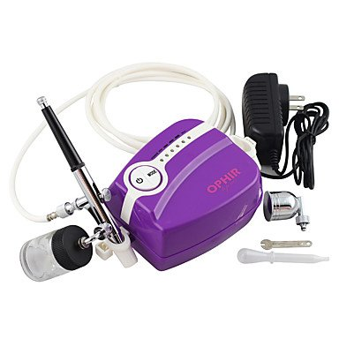 WST Purple Mini Air Compressor 0.3mm Airbrush Kit for Temporary Tattoo