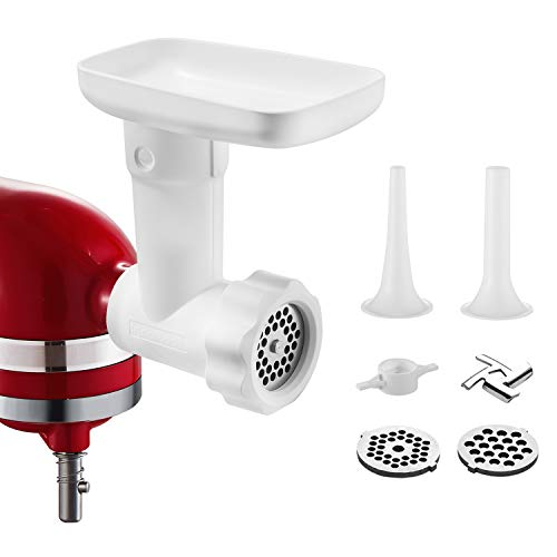 Food Grinder Attachment for Kitchenaid Stand Mixers, as Meat Mincer Accessory including Sausage Stuffer Tubes