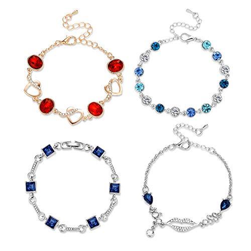 (Herinos Women 4 Pieces Cubic Zirconia Bracelets Set Blue Sapphire Red Tennis Wedding Bridal Chains Crystal Bangle)