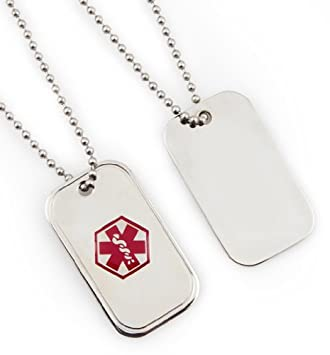 Medical Alert ID Stainless Dog Tag Necklace With Decals