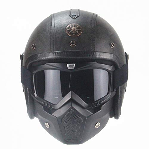 AUTOPDR Motorcycle Helmet DOT Approved Open Face Vintage ABS and PU Leather Harley Helmets 3/4 Motorcycle Chopper Bike Helmet with Goggle Mask M (22.5-23in) GRAY