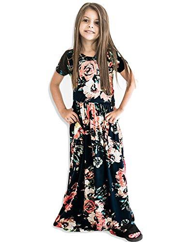 Kids Floral Maxi Black Dress Girls Summer Casual Pocket Long Tshirt Short Sleeve for Kids 6-12 from 21KIDS