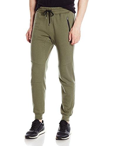 Brooklyn Athletics Men's Active Basic Zipper Pocket Fleece Jogger Pants, Olive, Medium