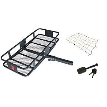 Image of Cargo Baskets HitchMate 4013 Black Deluxe Fold-Up Cargo Carrier Kit with Cargo Webbing and Hitch Lock